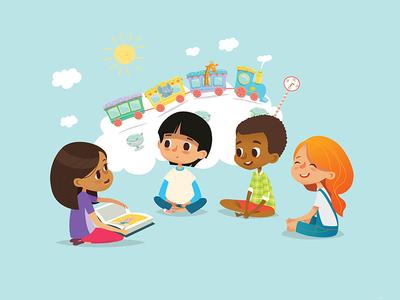Storytelling vector illustration art children imagination image storytelling reading book illustration character kids
