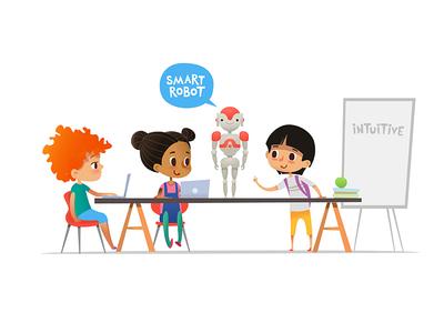 Robotics and programming for kids vector art children vector school illustration programming kids robot