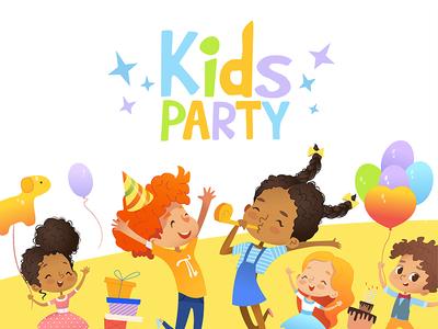 Kids Party happy balloons vector illustartion invitaion flayer birthday kids party