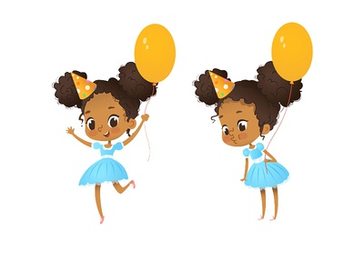 Birthday Party Characters kids design vector girl illustation characer party birthday