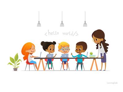 Learning Code foxyimage preschool teacher vector illustraiton programing code learning school kids