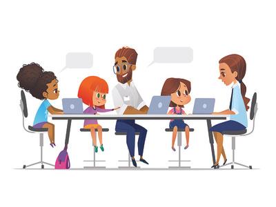 Programming Lesson foxyimage vector illustration develop computer informatics programming coding laptop tutor code teaching teacher children kids