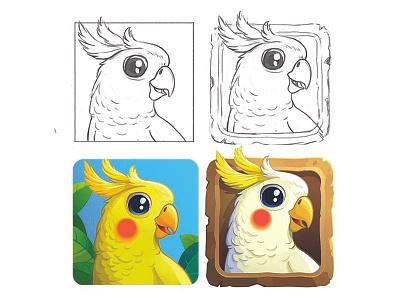 Parrot Icon design icon birdsign digital illustration cutebird bird vector illustration foxyimage parrot icon parrot icon app