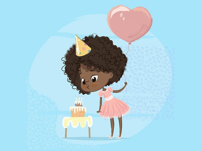 Birthday Party Girl children book illustration balloon birthday party birthday cake cute girl birthday party charcter birthcard