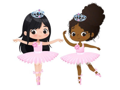 Ballerinas vector illustration pink tutu ballet dancer dance school kids ballerina girl ballerina