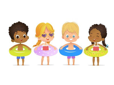 Summer Kids. Pool Party girl costume school children character foxyimage party kids illustration vector summer kids african american child swim kids pool party clipart pool boys and girls pool party