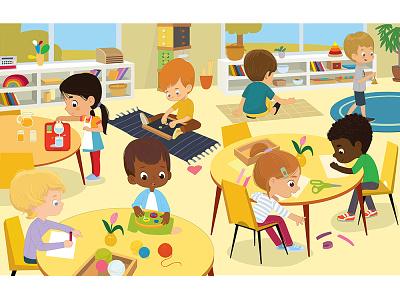 Montessori Class girl kids school illustration vector montessori activities montessori kindergarten kids illustration games illustration kids illustraion game foxyimage classroom class children