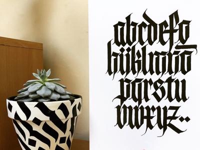 Fraktur Alphabet with Plant Pot