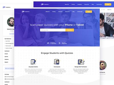 Scan Quizzes Home Page hero platform grading quizzes scan teachers icons landing students