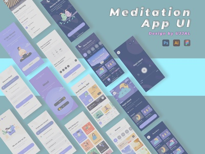Meditation App UI meditation app meditation app mobile app design webdesign uiux branding illustration ui ux