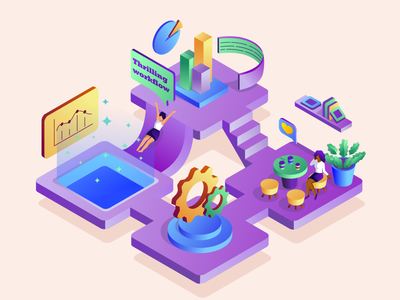 Thrilling workflow ui vector office woman isometric illustration isometric design isometry character girls illustrator flat workspace work process work workflow