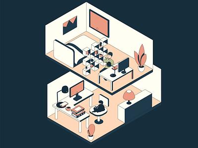 Bedroom workspace invite man isometry cat workplace bedroom isometrics plants flowers rack dark character art illustration vector