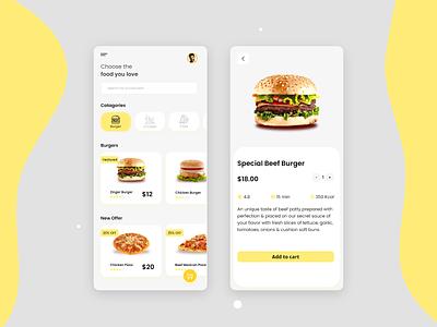 Food delivery app UI Design fast food delivery app ui fastfood delivery ui ux burger app food app design app design ui design online delivery online food food de food app foo app ui