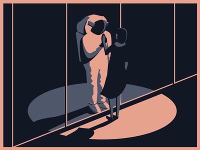 Hi everyone! illustration dress astronaut space spotlight girl night window shadow shot first debut