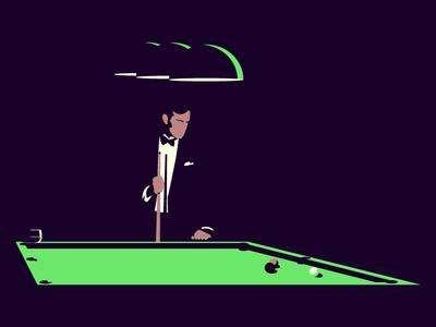 After-dinner games night vector shadow minimal character snooker