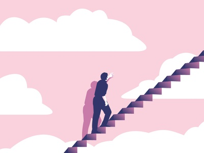 The Truman Show character stairs movie pink shadow minimal vector