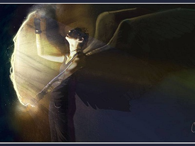 Mage Illustration - Azriel Opens A Portal fantasy fantasy art portal magic dark angel angel photoshop illustration world of darkness new mage mage the awakening mage