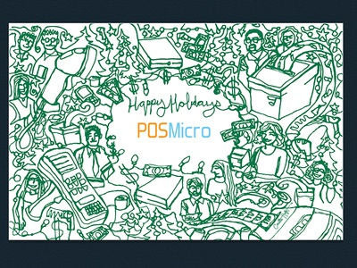 Company Holiday Card single-stroke illustration corporate starbucks holiday pos point of sale