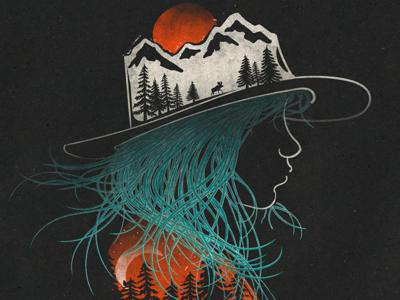 Aurora... illustration threadless sun moon dawn girl forest trees sunrise mountains wildlife wilderness