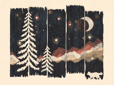 A Starry Night in the Mountains... wolf the starry night gogh van gogh night starry mountains nature wildlife wilderness wild