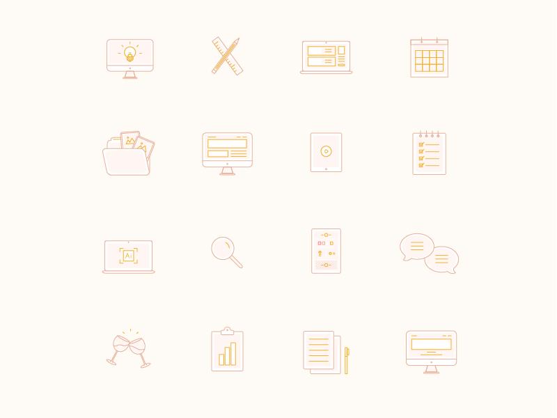 Icon Set palmandcompany feminine icon set illustration icon