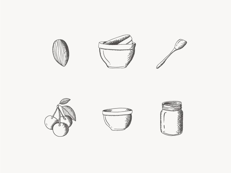 Fill My Jar brand identity branding cooking drawing utensils illustrations