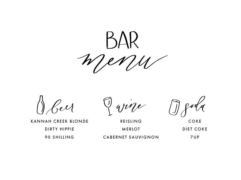 Wedding Signage illustration bar menu wedding sign wedding script hand lettering