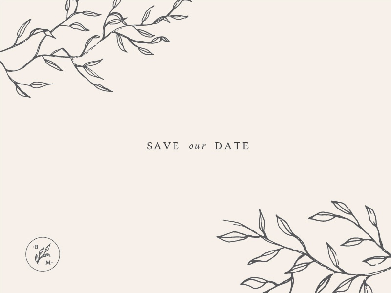 Save Our Date monogram illustration botanical illustration wedding wedding invitation save the date
