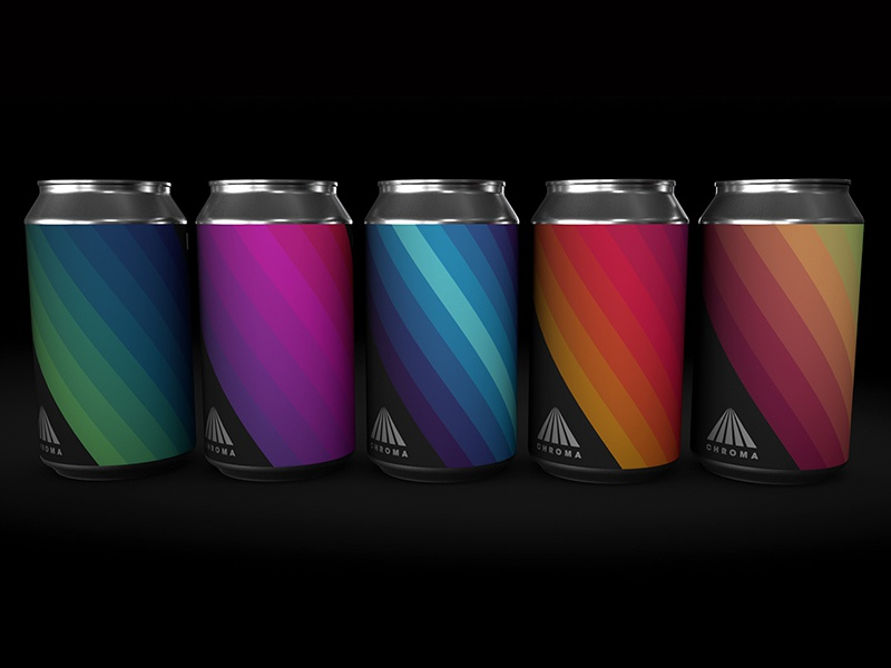 CHROMA - 3D Render branding gradient label can beer color chroma