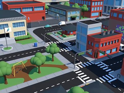 Little City simple 3d city animation cinema4d c4d motion