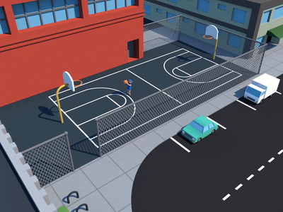 Going for 3 loop sports mini minimal city basketball dribbble 3d simple cinema4d c4d animation motion