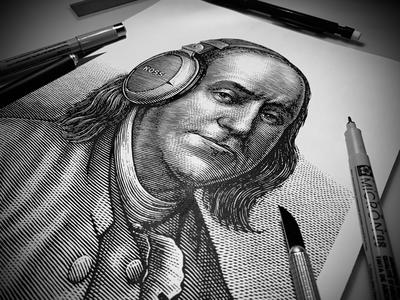 Ben Franklin Portrait Scratchboard illustration portrait etching illustration pen and ink line art scratchboard woodcut steven noble