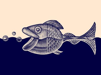 The Big Fish steven noble conceptual art fish pen and ink line art linocut etching scratchboard woodcut