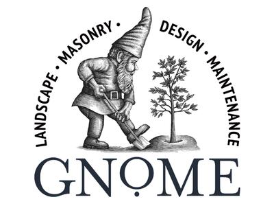 Gnome Landscape logo etching artwork illustration line art scratchboard woodcut