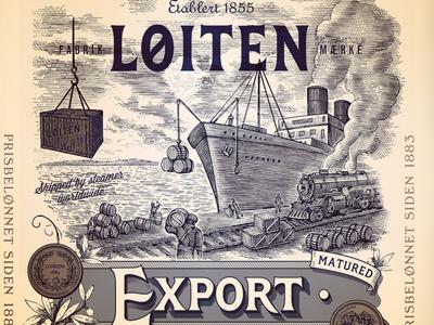 Loiten Export Label pen and ink line art etching steven noble illustration scratchboard woodcut