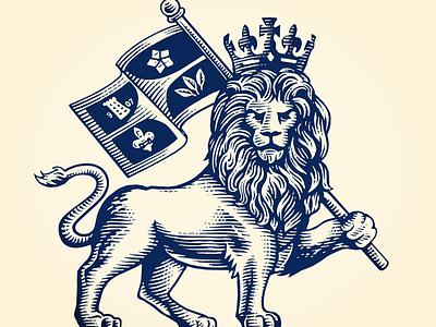 Lion logo logo artwork pen and ink line art etching illustration scratchboard woodcut steven noble