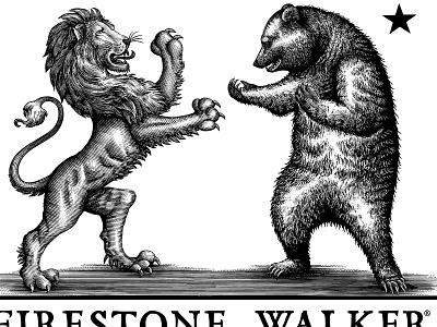 Firestone Brewery Logomark illustration branding graphic design woodcut etching logo woodcuts engraving line art scratchboard