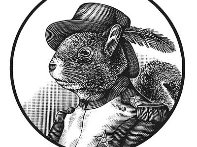 The Squirrel Logo etching line art artwork illustration woodcut scratchboard