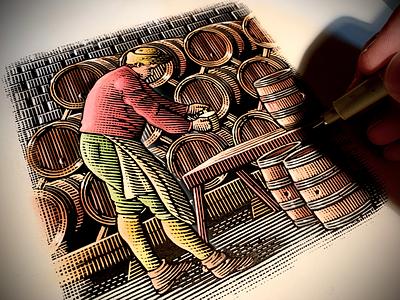 Brewmaster Illustration linocut illustration artist steven noble etching woodcut scratchboard artwork