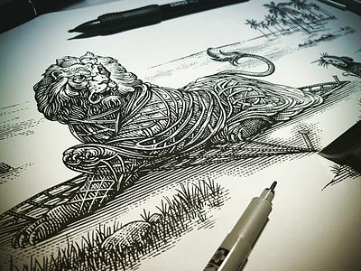 Lion & Mouse etching steven noble illustration linocut engraving woodcut scratchboard