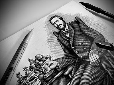 Scratchboard Portrait Illustration ink art pen illustration line art scratchboard engraving linocut etching illustration scratchboard woodcut steven noble