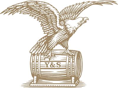 Yuengling Eagle logo pen and ink line art linocut engraving illustration. logo scratchboard woodcut steven noble