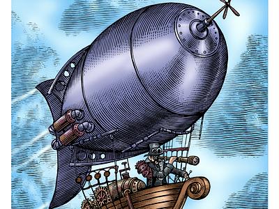 Steampunk Airship woodcut engraving crosshatch artwork line art etching illustration scratchboard woodcut steven noble