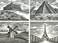 Woodcut Landscape Illustrations scraper board scratchboard etching pen and ink line art artwork illustration woodcut steven noble