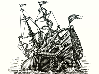 Kraken vs Ship maritime animal etching illustration woodcut scratchboard illustration
