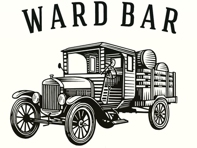 The Ward Bar Logo line art illustrator linocut illustration logo woodcut scratchboard