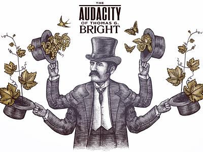The Audacity of Thomas G. Bright woodcut illustration pen and ink illustrator line art illustration scratchboard steven noble