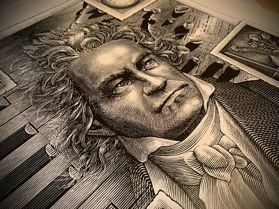 Ludwig van Beethoven Portrait Engraving pen and ink line art people engraving woodcut portrait portraiture scratchboard steven noble
