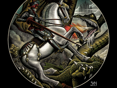 St George & the Dragon pen illustration line art pen and ink ink art etching illustrator illustration scratchboard woodcut steven noble