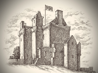 Balvaird Castle pen illustration ink art etching line art pen and ink illustrator illustration architecture scratchboard steven noble